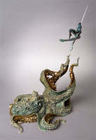 """Wrestling With Demons"" Cast bronze octopus and aquatic warrior"